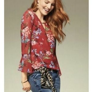 Cabi 3590 Top Size S Devoted Floral Long Sleeve